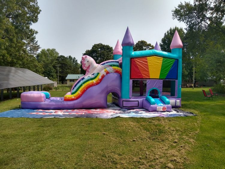 Unicorn Bounce house with slide combo rental springfield missouri
